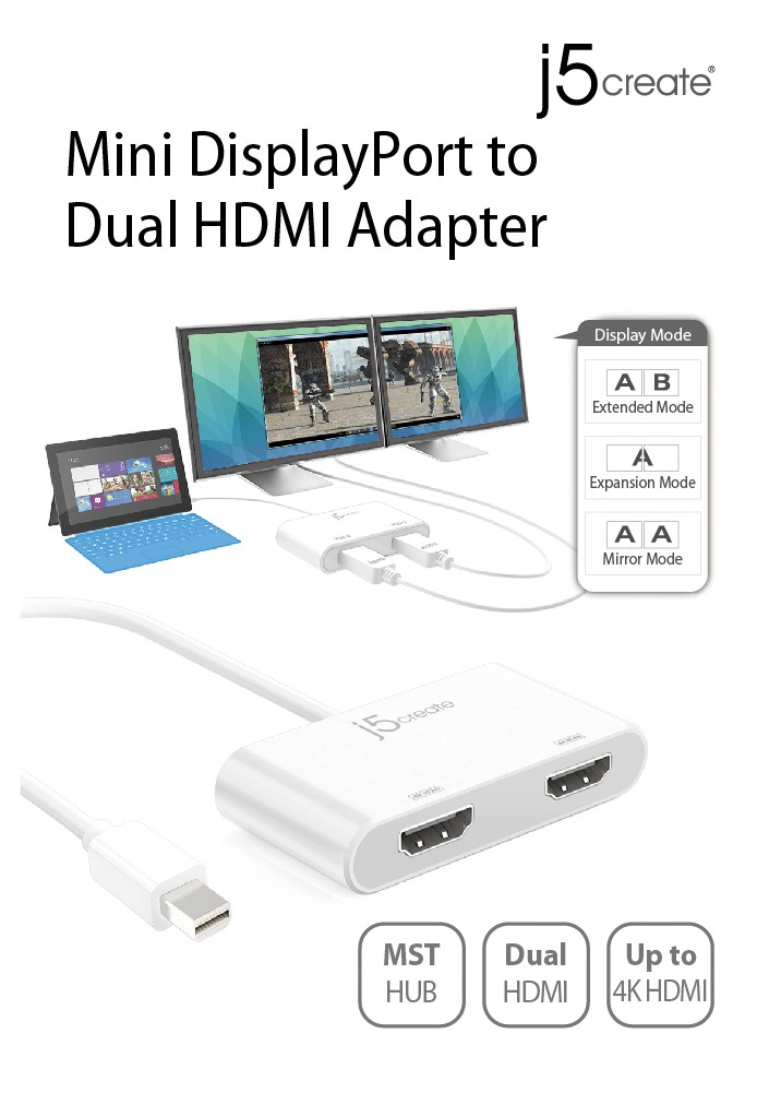 Buy the J5create JDA156 Mini DisplayPort to Dual HDMI MST
